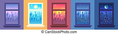 Daytime city landscape in window. Change of time of day, ...