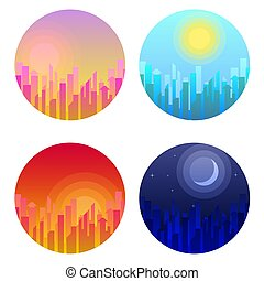 Daytime cityscape. Vector