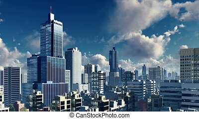 Daytime clouds over modern city skyline 4K