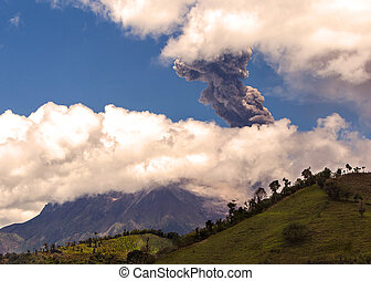 Daytime Explosion Of Tungurahua, Ecuador, South America