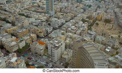 Daytime panorama of Tel Aviv, Israel - Tilt shot of daytime...