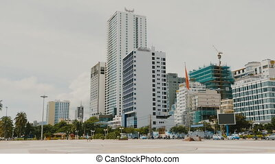 Daytime view of the main square in Nha Trang with skyscrapers.