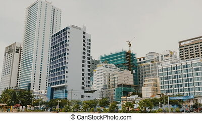 Daytime view of the main square in Nha Trang with skyscrapers. Vietnam.