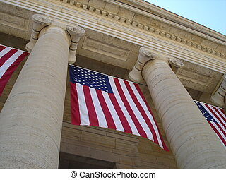 Dayton Court House - A view looking up at the columns of...