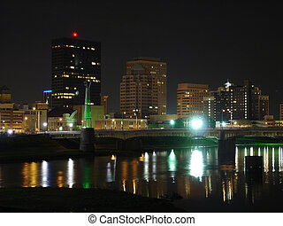 Dayton Night Skyline - View of Dayton, Ohio skyline at night...