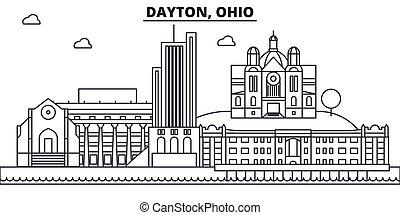 Dayton, Ohio architecture line skyline illustration. Linear vector cityscape with famous landmarks, city sights, design icons. Landscape wtih editable strokes