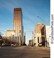 Dayton Ohio Downtown City Skyline Sunday Morning Sunrise