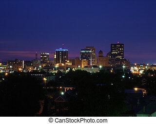 Dayton Skyline Night - Straight on shot of Dayton, Ohio...