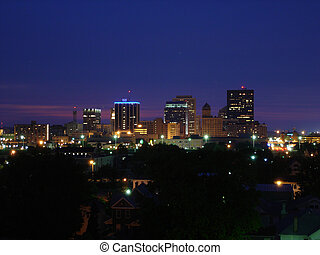 Dayton Skyline Night - Straight on shot of Dayton, Ohio...