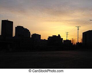 Dayton Sunset - Dayton skyline backlit by sunset.