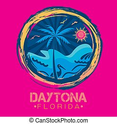An abstract vector illustration of a circular brush stroke with sunshine rays and palm tree with a shore line of Daytona Beach and Florida lettering