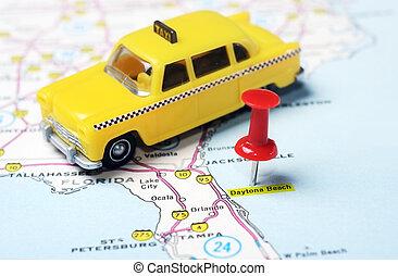 Daytona Beach Florida  USA map taxi