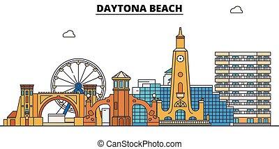 Daytona Beach , United States, outline travel skyline vector illustration.