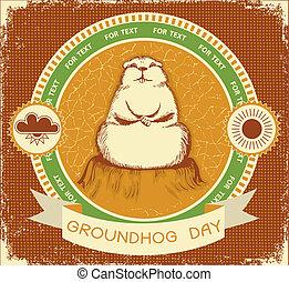 day.vector, grunge, texto, textura, etiqueta, fundo, groundhog