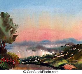 d'azur, aquarela, france., cote, pôr do sol, quadro, paisagem