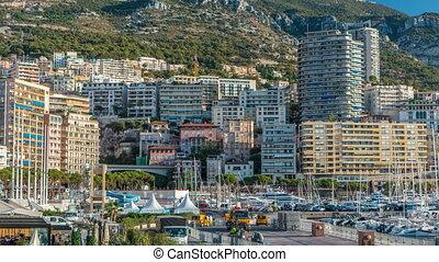 d'azur., monte, panorama, timelapse., yachts, maisons, cote,...