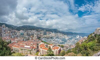 d'azur., ville, monte, aérien, appartements, port, panorama,...