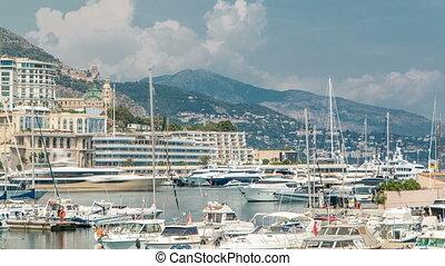 d'azur., ville, monte, aérien, port, panorama, timelapse., yachts, bâtiments, cote, luxe, monaco, carlo, vue