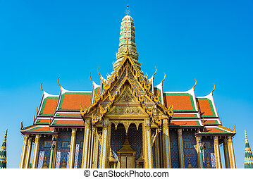 Dazzling decorations of roof and stupa of Grand Palace, Bangkok