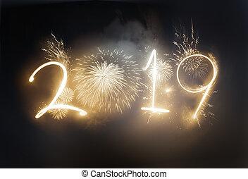 Dazzling Gold 2019 New Year Firework Celebrations