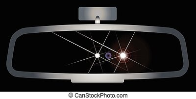 Dazzling Headlights - Depiction of a vehicle rear view...