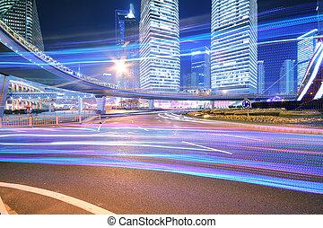 Dazzling rainbow overpass highway night scene in Shanghai - ...