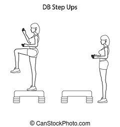 db, ステップ, の上, 練習, アウトライン