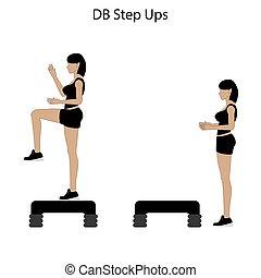 db, ステップ, の上, 練習