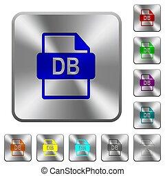db, ファイル, フォーマット, 円形にされる, 広場, 鋼鉄, ボタン