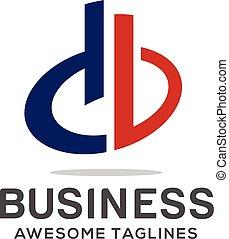 db, 手紙, ロゴ, デザイン