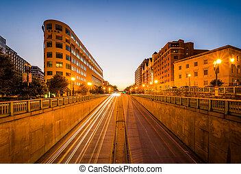dc., κτίρια , λεωφόροs , θωμάς , μακριά , κυκλοφορία , βάσιγκτων , κύκλοs , έκθεση , νύκτα , massachusetts
