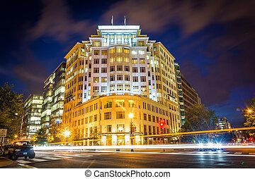 dc., κτίρια , h , connecticut , δρόμοs , βάσιγκτων , νύκτα , λεωφόροs