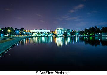 dc., 州議會大廈, 反射, 華盛頓, 夜晚, 池