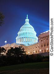 dc, 建築物, 州議會大廈, 夜晚, 華盛頓, 小山