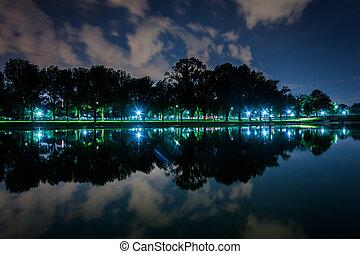 dc., 林肯紀念館, 反射, 華盛頓, 夜晚, 池