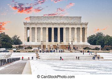 dc, 林肯紀念館, 華盛頓, 冬天