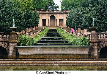 dc., 滝のように流れ落ちる, 公園, 噴水, 丘, 子午線, ワシントン