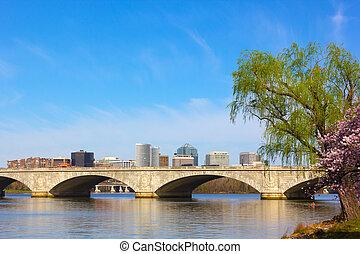 dc., 紀念館, rosslyn, usa., arlington, 華盛頓特區, 波托馬克河, 橋梁, 河銀行, 看法