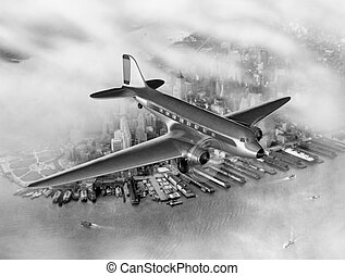 DC-3 Over NYC - Vintage image of a Douglas DC-3 over New ...