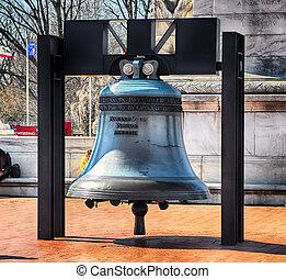 d.c, campana, unión, washington, libertad, réplica, frente, estación