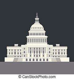 dc., capitol, nacional, nós, americano, vetorial, washington, landmark.