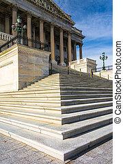 dc., capitol, unidas, senado, nós, estados, passos,...