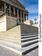 dc., capitolio, unido, senado, nosotros, estados, pasos,...