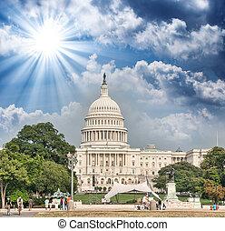 dc., capitool, op, kleuren, ondergaande zon , washington