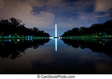 dc., centre commercial national, washington, refléter, washington, monument, nuit, piscine
