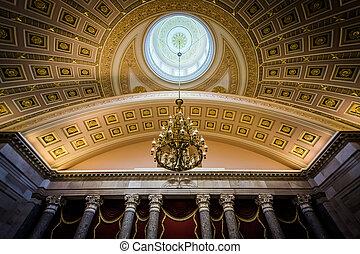 dc., corredor, unidas, nacional, capitol, estados, washington, statuary