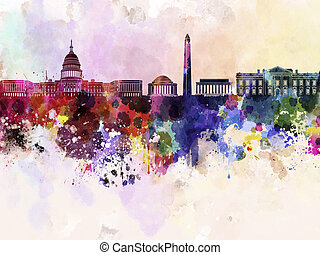 dc, fond, horizon, aquarelle, washington