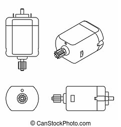 DC Motor colored. Outline only - DC Motor vector or fully...