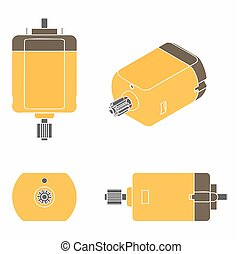 DC Motor colored. Without outline