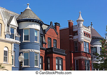 dc., nachbarschaft, bunte, reihenhäuser, washington, auf, dupont, schließen, kreis